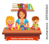 kindergarten teacher making... | Shutterstock .eps vector #309330362