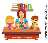 kindergarten teacher making... | Shutterstock .eps vector #309330362