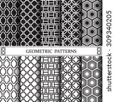 geometric black and white... | Shutterstock .eps vector #309340205