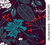 seamless pattern with tropical... | Shutterstock .eps vector #309340295