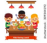 children having dinner at the... | Shutterstock .eps vector #309344192