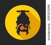 vampire bat on the full moon... | Shutterstock .eps vector #309351098