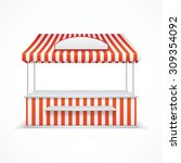 market stall with red and white ... | Shutterstock .eps vector #309354092