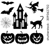 Set Of Halloween Silhouette On...