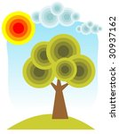 cartoon tree and sun on a blue...   Shutterstock . vector #30937162