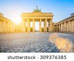 famous brandenburger tor ... | Shutterstock . vector #309376385