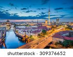Stock photo aerial view of berlin skyline with dramatic clouds in twilight during blue hour at dusk germany 309376652
