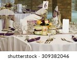 wedding or dinner table place... | Shutterstock . vector #309382046