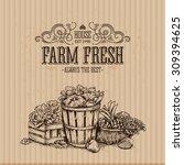 cardboard organic food design... | Shutterstock .eps vector #309394625