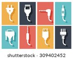 electric plug flat icons set.... | Shutterstock .eps vector #309402452