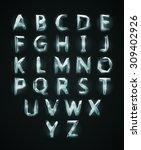 low poly cristal alphabet font. ... | Shutterstock .eps vector #309402926
