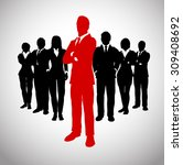 leader in front of his team of...   Shutterstock .eps vector #309408692