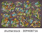 colorful vector hand drawn...   Shutterstock .eps vector #309408716
