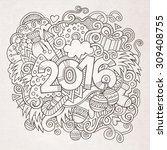 2016 new year hand lettering... | Shutterstock .eps vector #309408755