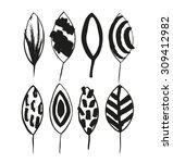 vector decorative set with ink... | Shutterstock .eps vector #309412982