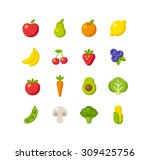 set of healthy fruit and... | Shutterstock .eps vector #309425756