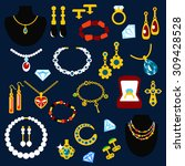 jewelry flat icons with fashion ... | Shutterstock .eps vector #309428528