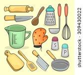 set of cooking utensil   Shutterstock .eps vector #309430022