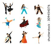 dancing styles flat icons set.... | Shutterstock .eps vector #309454076
