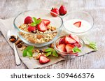 granola cereal with fresh... | Shutterstock . vector #309466376