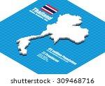 thailand map vector three... | Shutterstock .eps vector #309468716