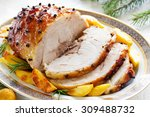roast pork with orange glaze ... | Shutterstock . vector #309488732