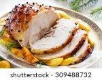 roast pork with orange glaze ... | Shutterstock . vector #309488732