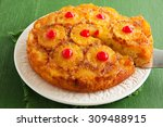 upside down pineapple cake with ... | Shutterstock . vector #309488915