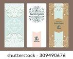 set of vintage ornate cards | Shutterstock .eps vector #309490676