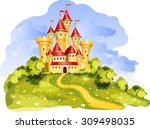 vector tale princess castle on... | Shutterstock .eps vector #309498035