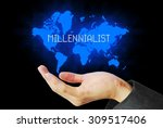 Small photo of hand touch millennialist technology background