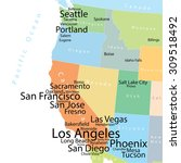 vector map of usa west coast... | Shutterstock .eps vector #309518492