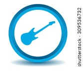 guitar icon  blue  3d  isolated ...