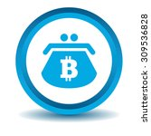 bitcoin purse icon  blue  3d ...