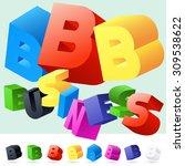 vector 3d font of randomly... | Shutterstock .eps vector #309538622