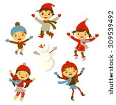 winter little girl sculpts... | Shutterstock . vector #309539492