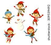 winter little girl sculpts...   Shutterstock . vector #309539492