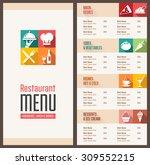 a modern restaurant menu...   Shutterstock .eps vector #309552215