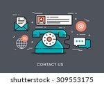 flat design thin line concept... | Shutterstock .eps vector #309553175