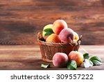 Fresh Peaches In Wicker Basket...