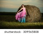 Young Lady Standing In Evening...