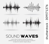vector music sound waves set.... | Shutterstock .eps vector #309571376