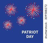 patriot day fireworks night sky ... | Shutterstock .eps vector #309588272