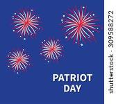patriot day fireworks night sky ... | Shutterstock .eps vector #309588272