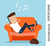 man resting at home. laying on... | Shutterstock .eps vector #309591848