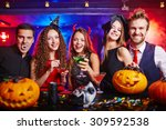 friends drinking during... | Shutterstock . vector #309592538