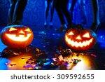 Pumpkin Lanterns On Floor Among ...