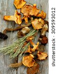 Small photo of Arrangement of Dried Forest Chanterelles, Porcini and Boletus Mushrooms with Dry Grass, Leafs and Fir Stems on Rustic Wooden background