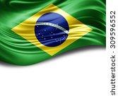 brazil flag of silk with... | Shutterstock . vector #309596552