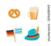 oktoberfest set  beer festival | Shutterstock .eps vector #309608945